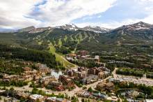 An aerial view of downtown Breckenridge