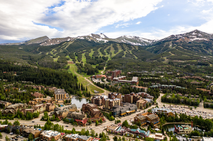 An aerial view of downtown Breckenridge in the summer